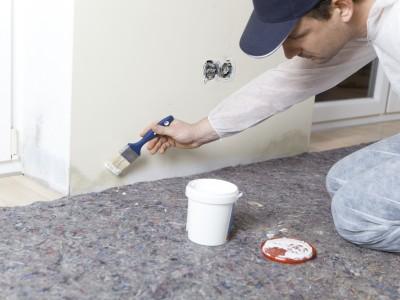 Maler beseitig Schimmel auf feuchter Wand