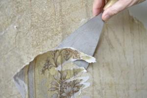 Alte Tapetenreste werden entfernt