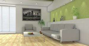 Wohnzimmer Mit Aufwändiger Wandgestaltung
